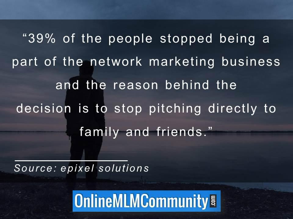 39 percent of the people stopped being a part of the network marketing business