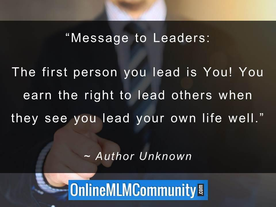 first person you lead is You