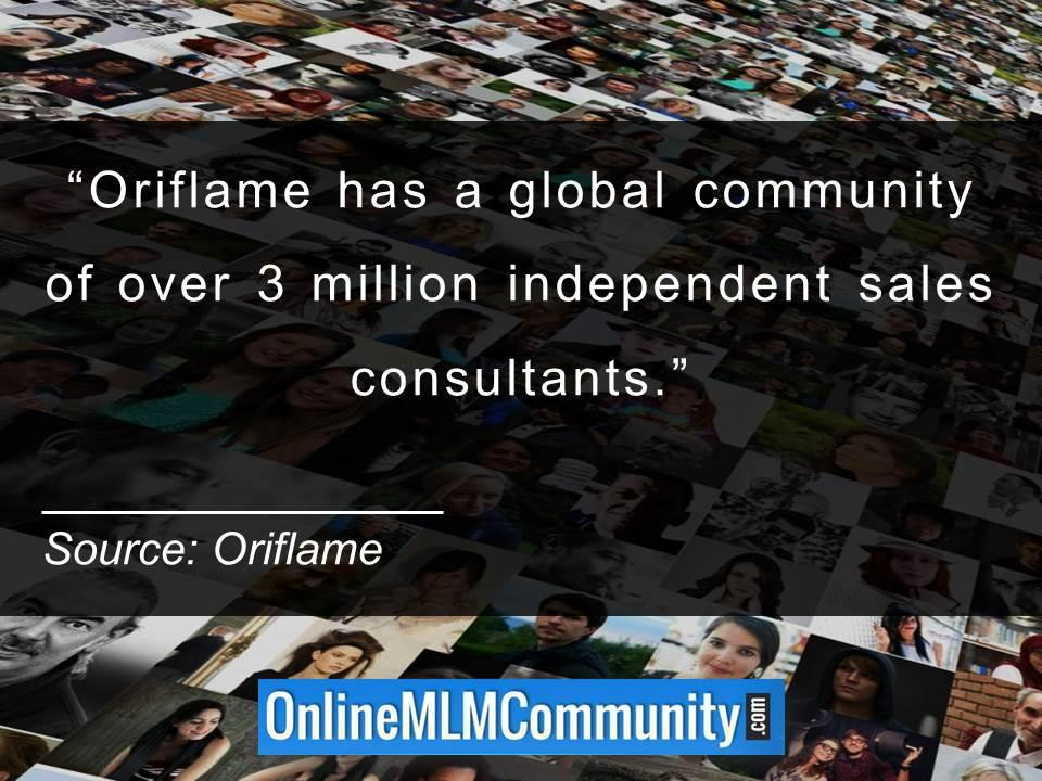 Oriflame has a global community of over 3 million independent sales consultants