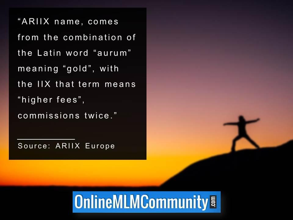 ARIIX name comes from the combination of the Latin word aurum meaning gold