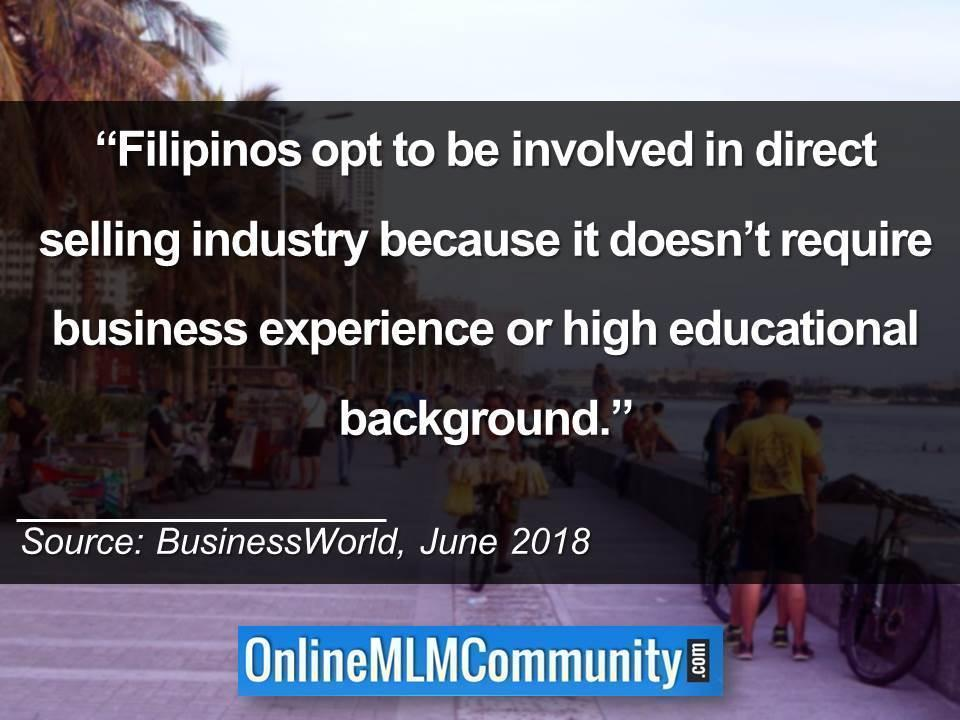 Filipinos opt to be involved in direct selling industry