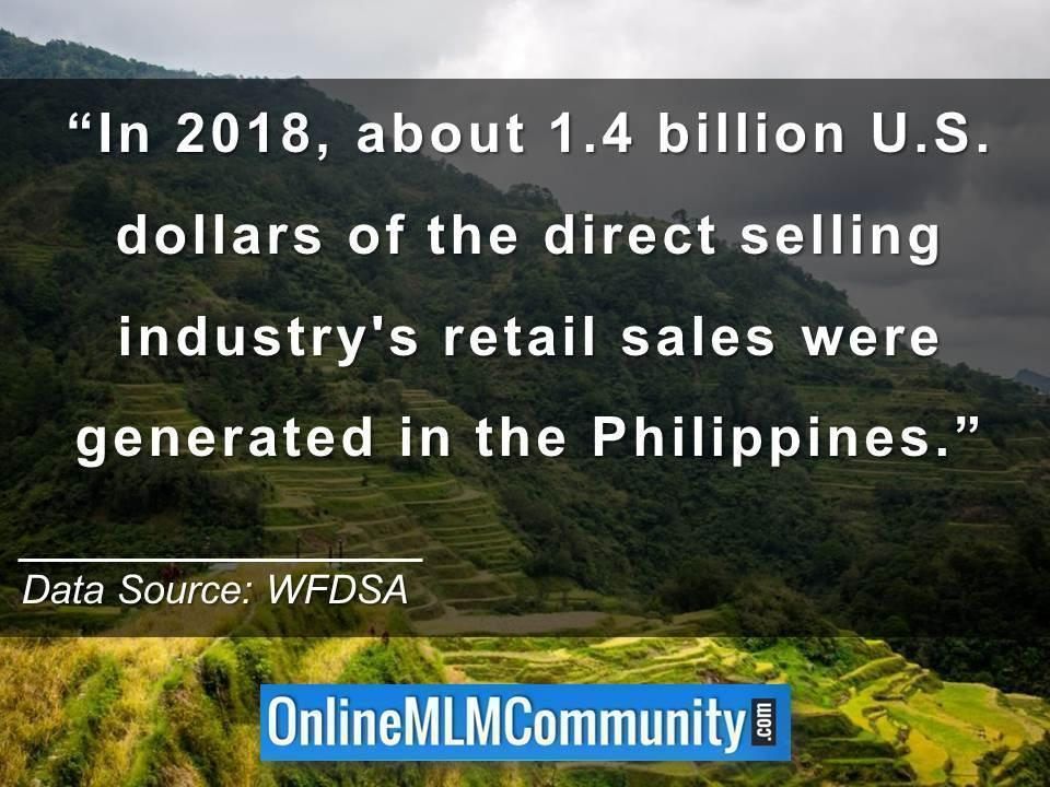 1.4 billion U.S. dollars of the direct selling industry retail sales