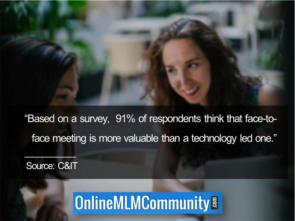 face-to-face meeting is more valuable than a technology led one