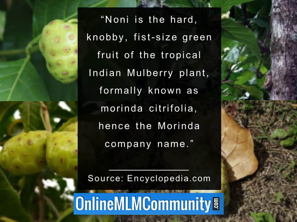 Noni is formally known as morinda citrifolia