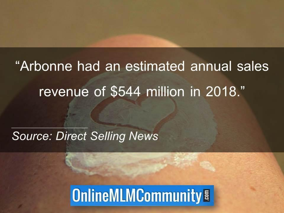 Arbonne had an estimated annual sales revenue of $544 million in 2018