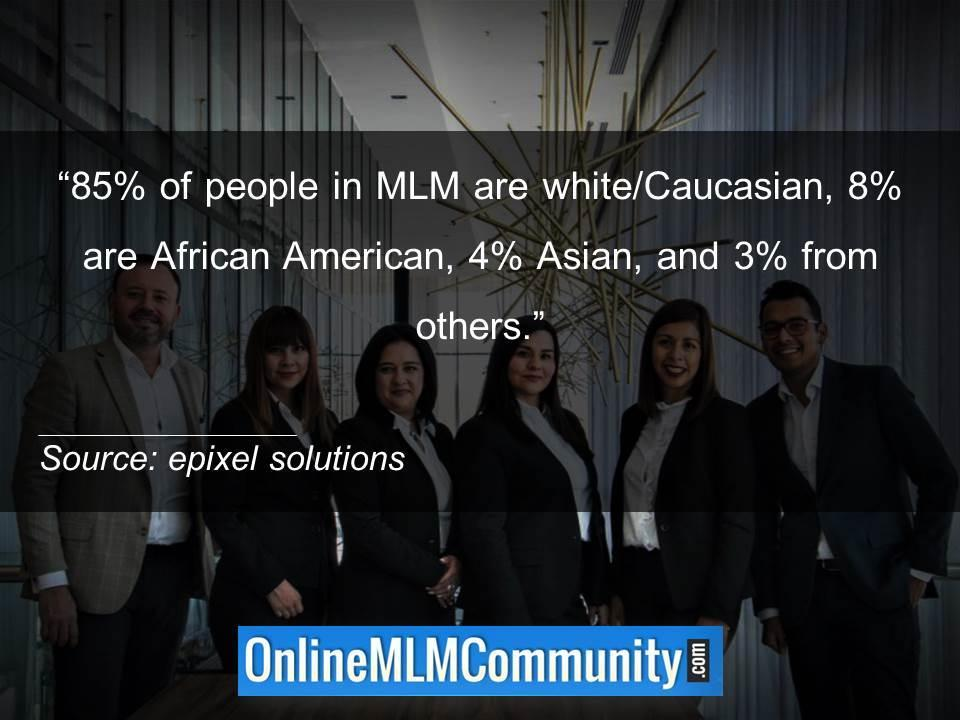 85 percent of people in MLM are white Caucasian