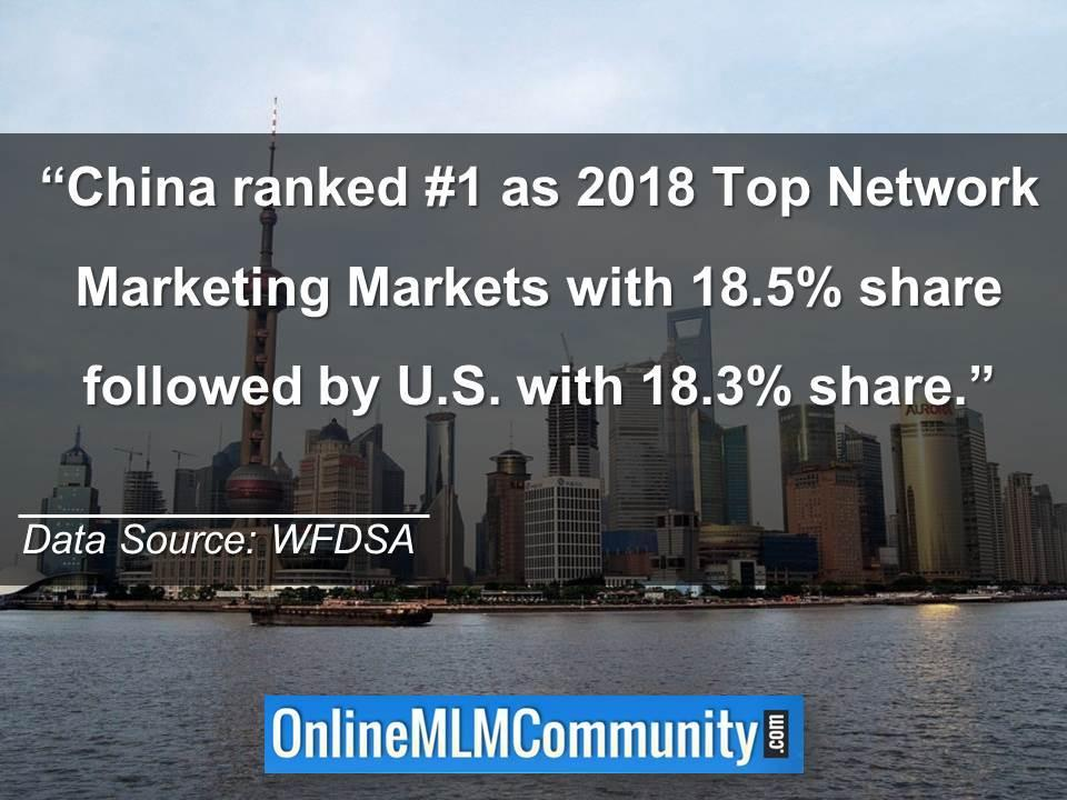 China ranked #1 as 2018 Top Network Marketing Markets
