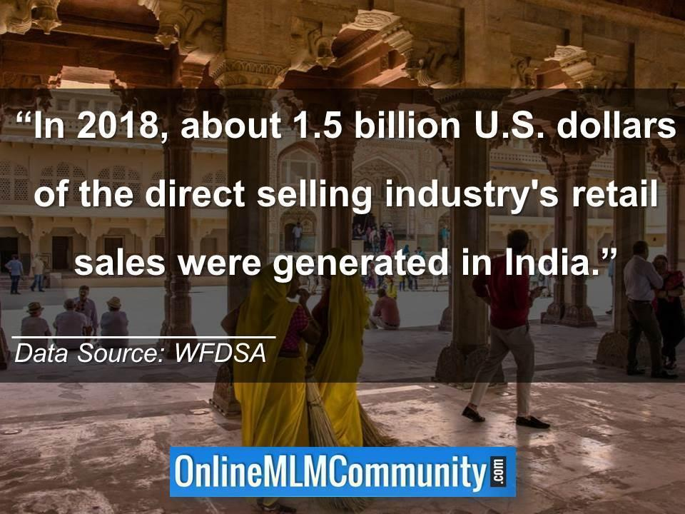 1.5 billion U.S. dollars of the direct selling industrys retail sales were generated in India