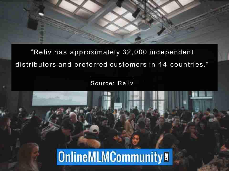 Reliv compte environ 32 000 distributeurs indépendants