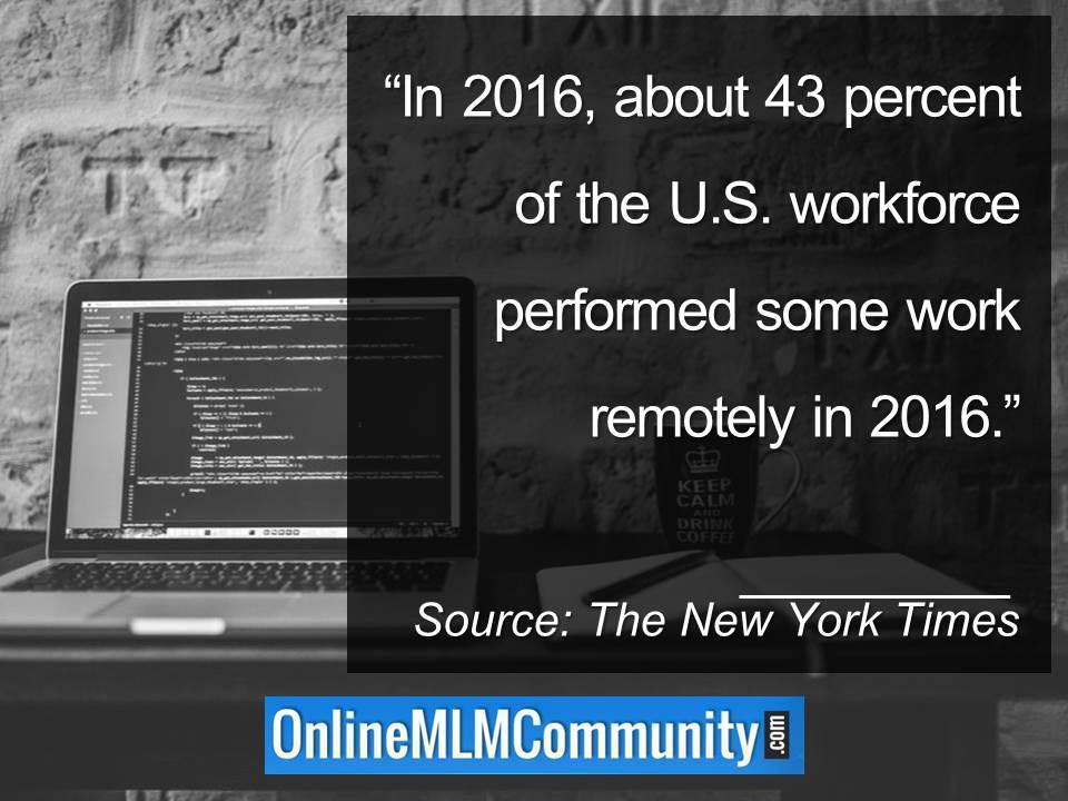 In 2016, about 43 percent of the U.S. workforce performed some work remotely in 2016.