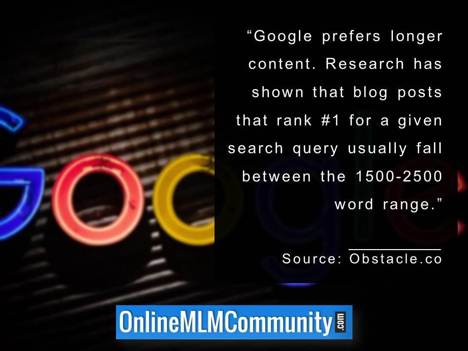 Google prefers longer content