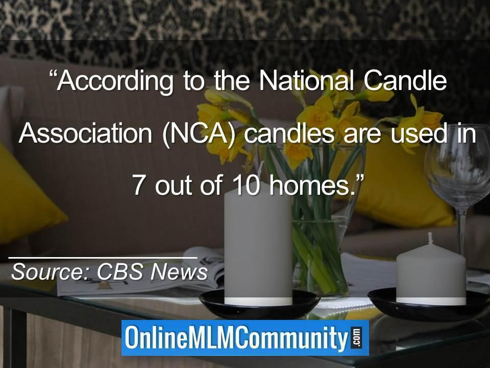 According to the National Candle Association candles are used in 7 out of 10 homes