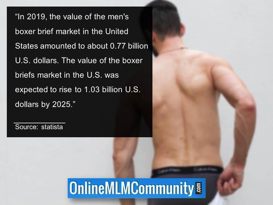 boxer briefs market in the US was expected to rise to 1.03 billion dollars by 2025