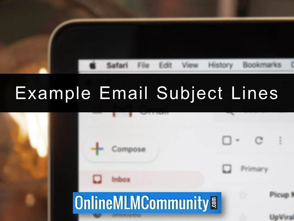 Example Email Subject Lines
