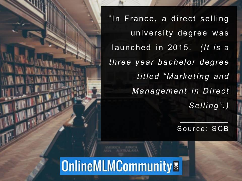 In France a direct selling university degree was launched in 2015