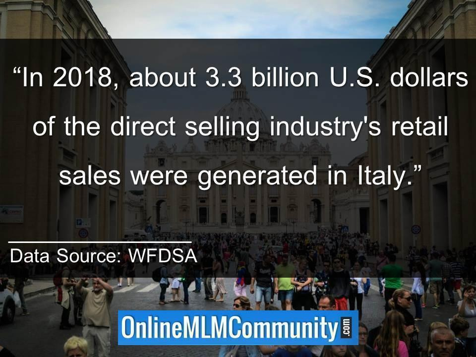 In 2018, about 3.3 billion U.S. dollars of the direct selling industry Italy Sales