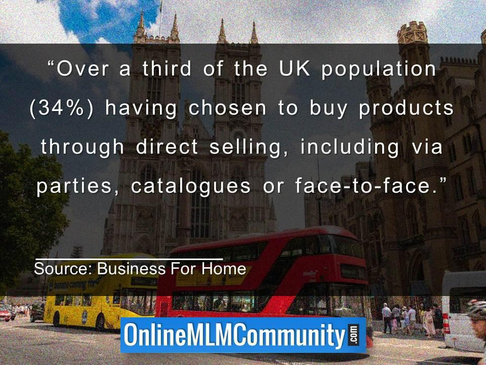 Over a third of the UK populationhaving chosen to buy products through direct selling