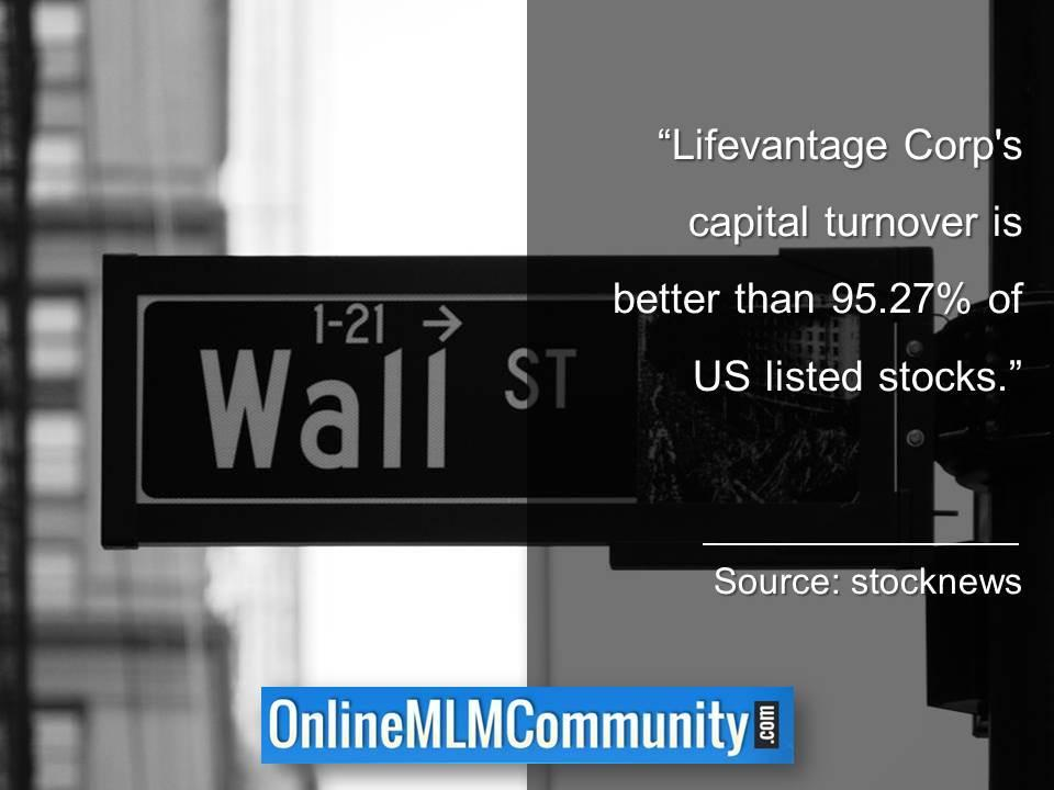 Lifevantage Corps capital turnover is better than 95.27% of US listed stocks