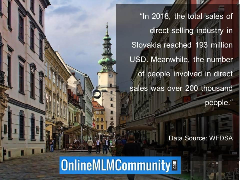 Total sales of direct selling in Slovakia 193 million USD
