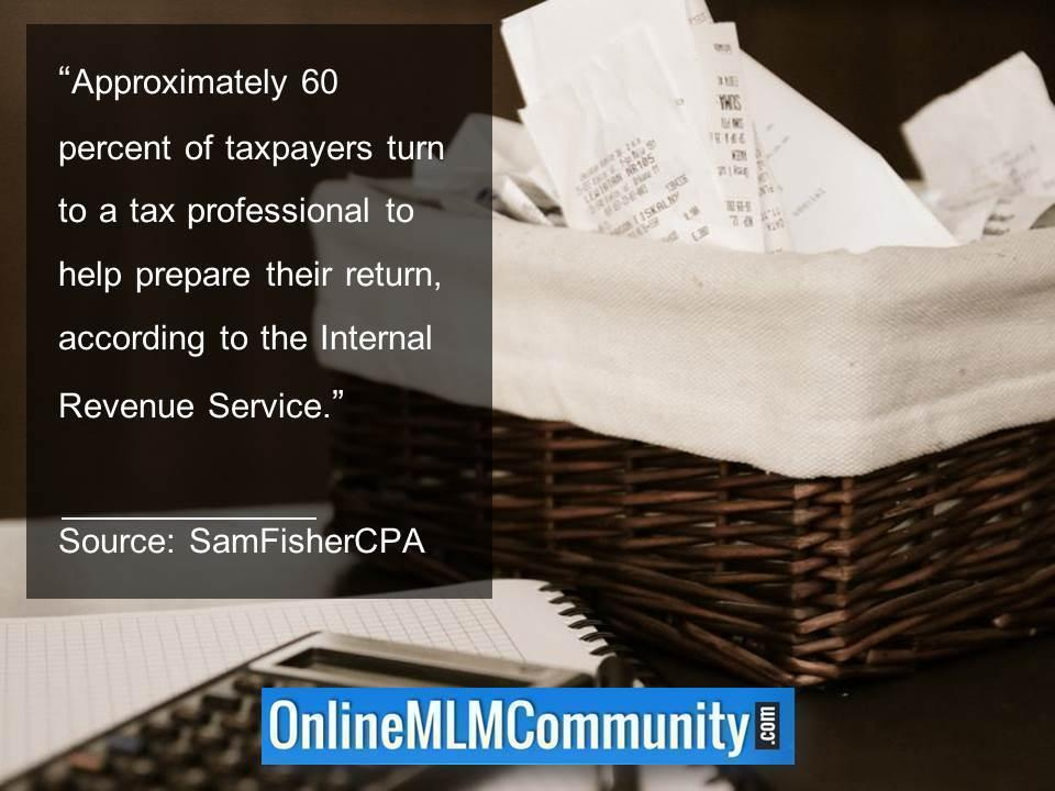60 percent of taxpayers turn to a tax professional for their return