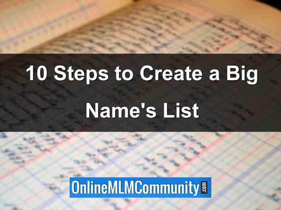 10 steps to create a names list