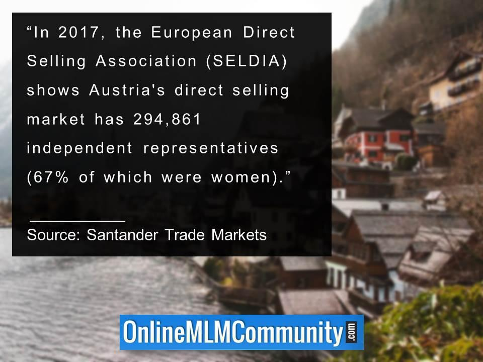 Austrias direct selling market has 294 861 independent representatives