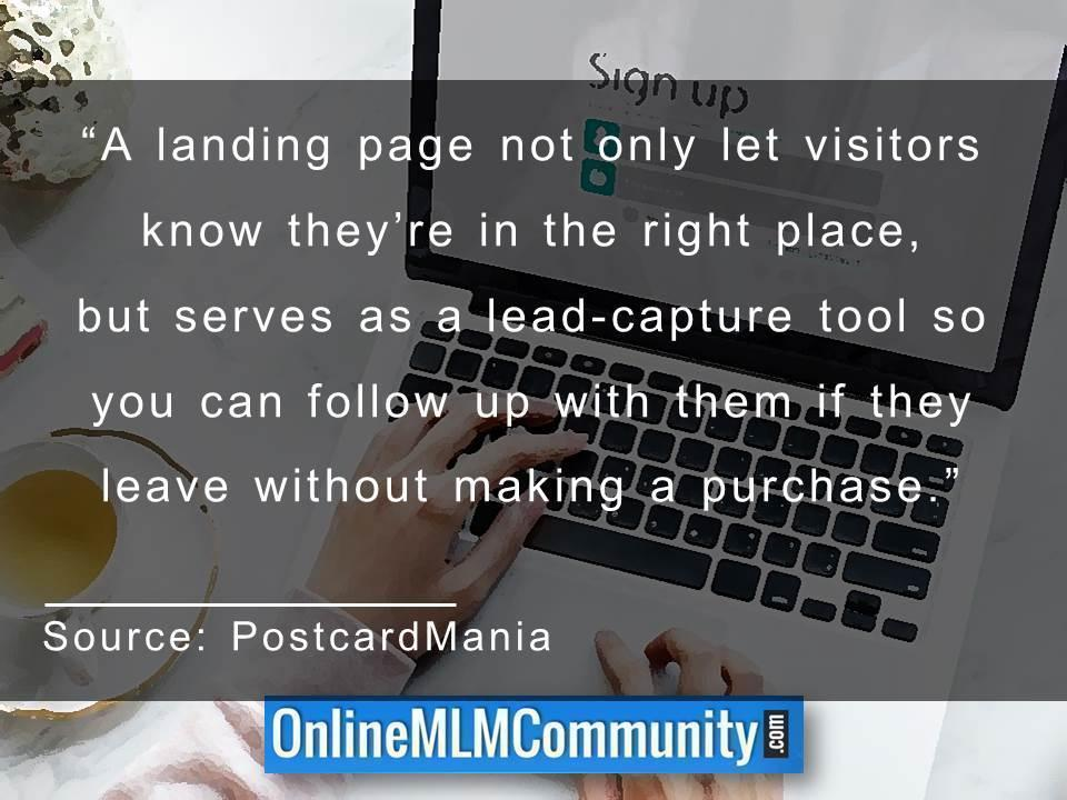 A landing page not only let visitors know theyre in the right place