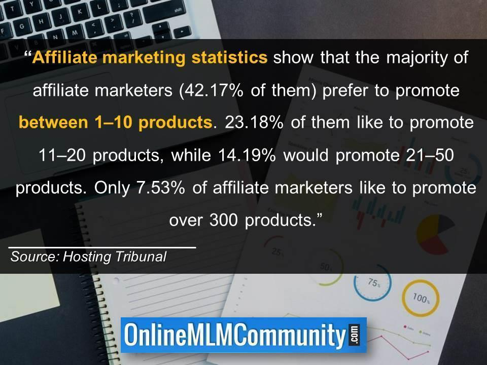 amount of affiliate products to promote