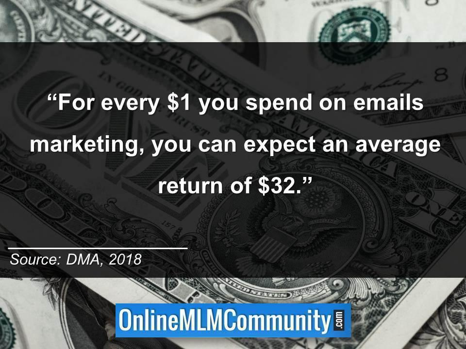 For every $1 you spend on emails marketing