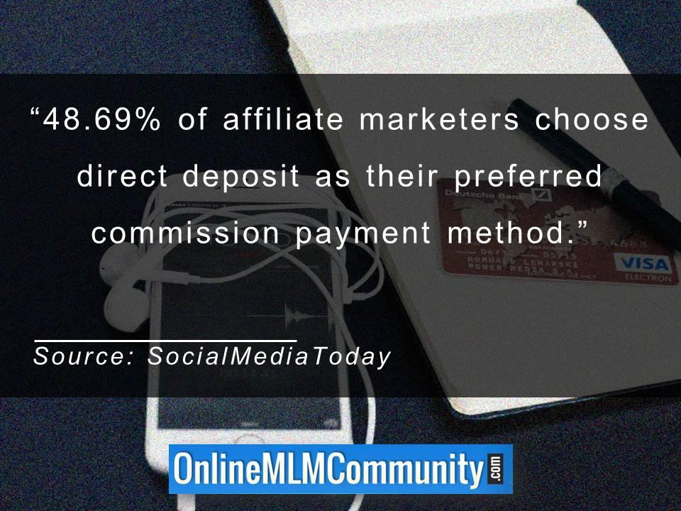 Affiliate marketers choose direct deposit as their preferred commission payment method