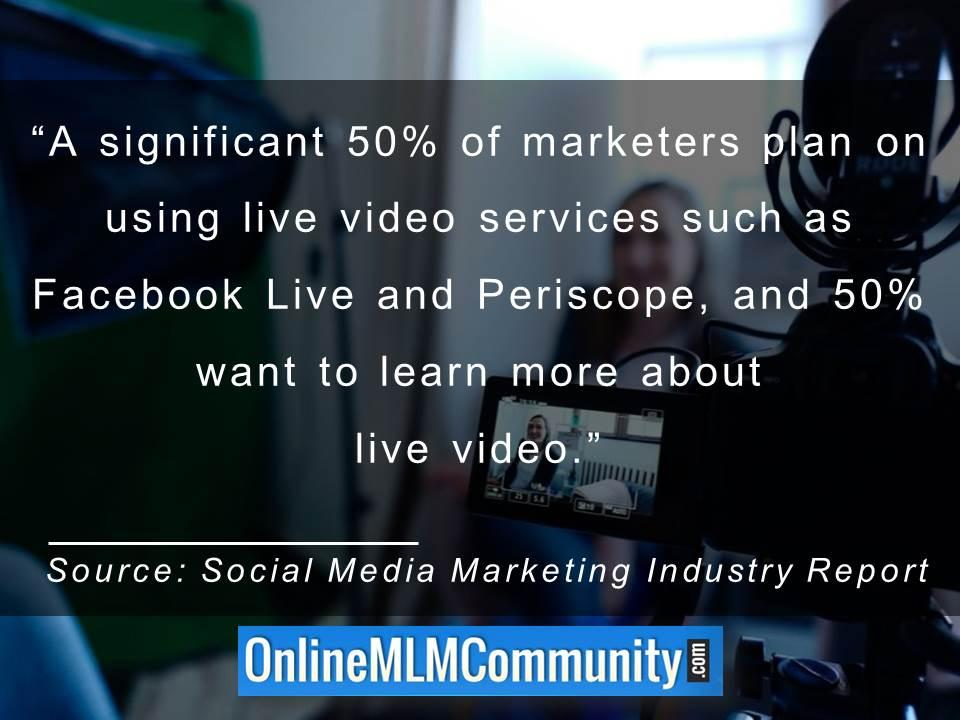 50 percent of marketers plan on using live video services such as Facebook Live