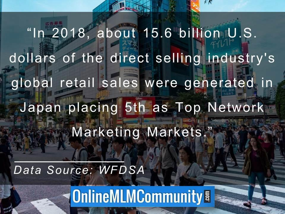 Japan placing 5th as Top Network Marketing Markets