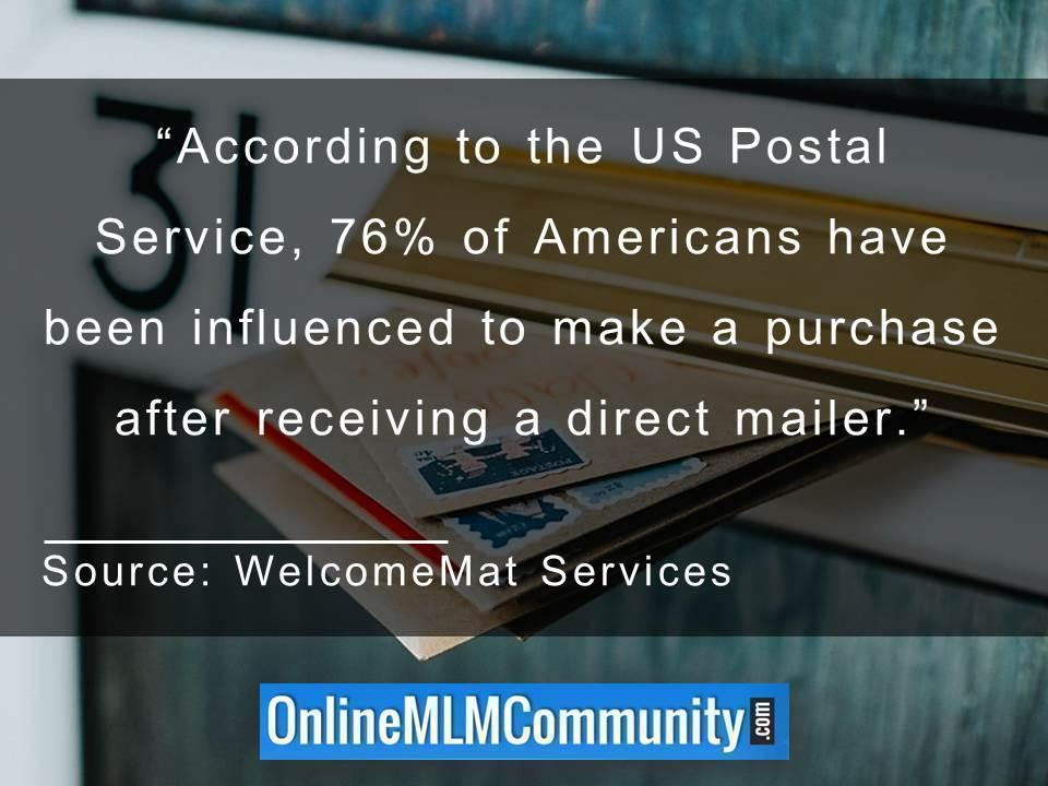 76% of Americans have been influenced to make a purchase after receiving a direct mailer