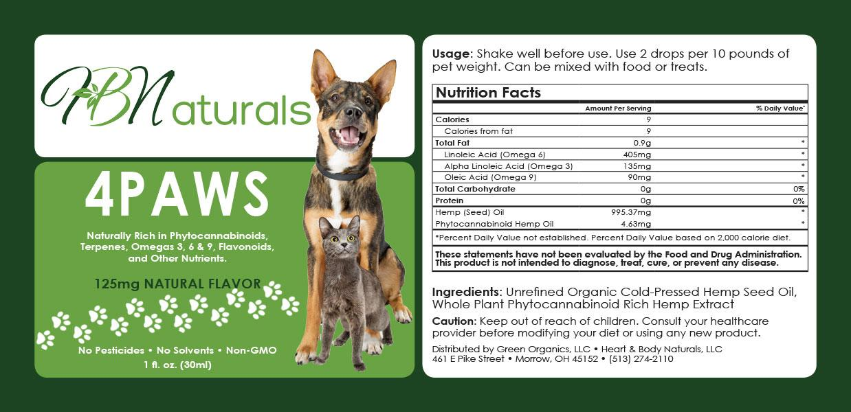 HB Naturals 4PAWS Label