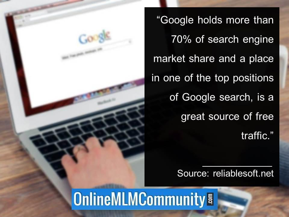 Google holds more than 70percent of search engine market share