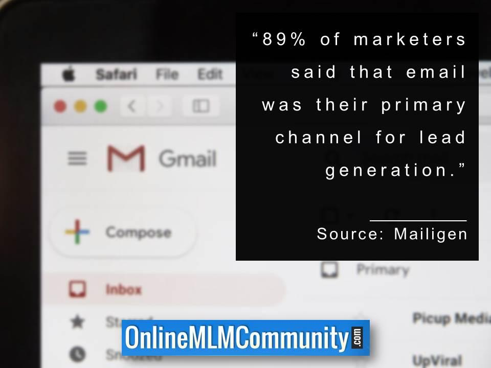 89percent of marketers said that email was their primary channel for lead generation