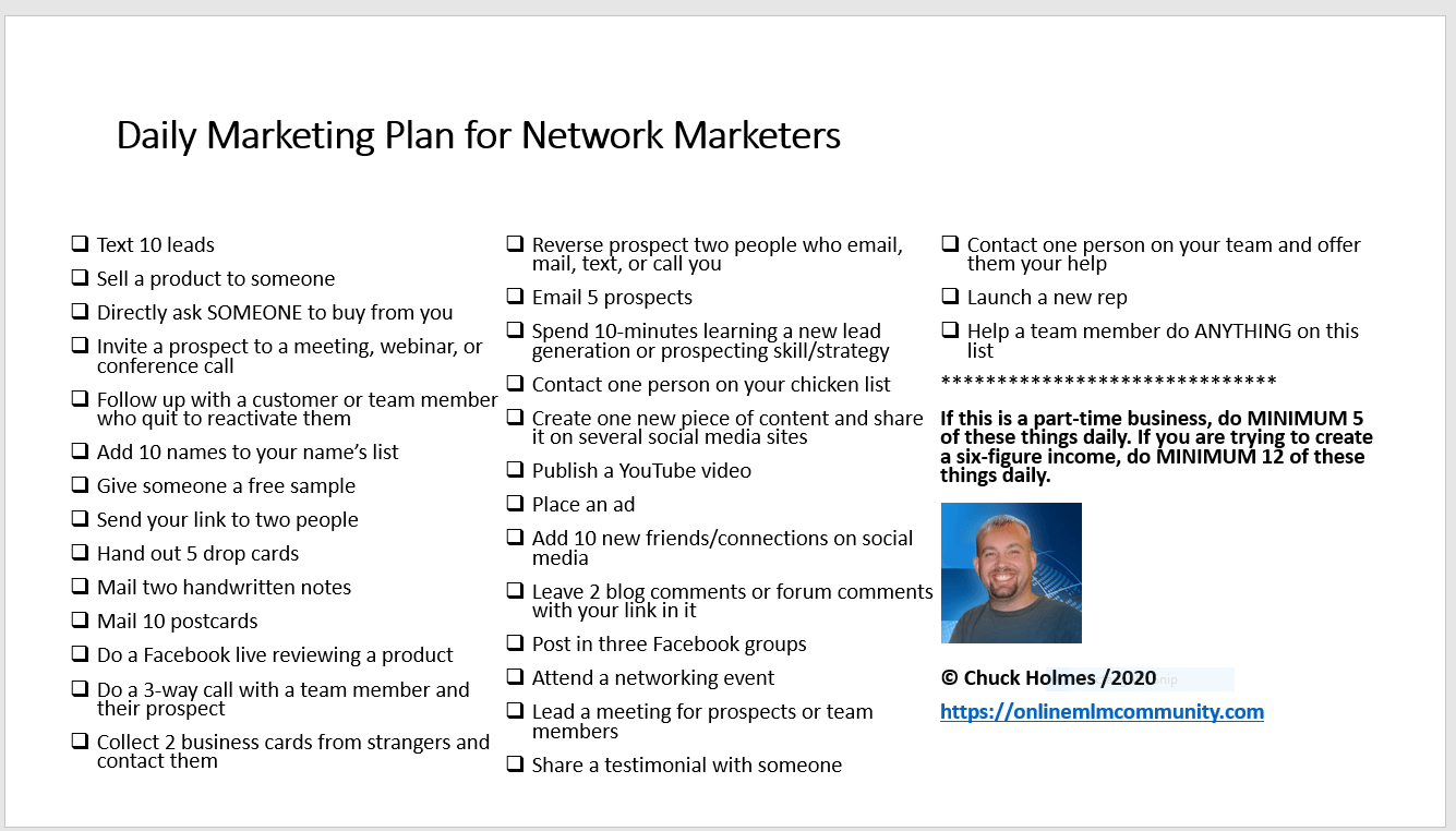 daily marketing plan for mlm
